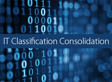 Banner image of code with IT Classification Consolidation in white.