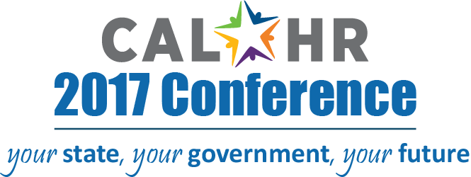 Image of CalHR logo with text stating 2017 Conference: your state, your government, your future