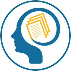 Icon image of a person's head silhouette thinking.