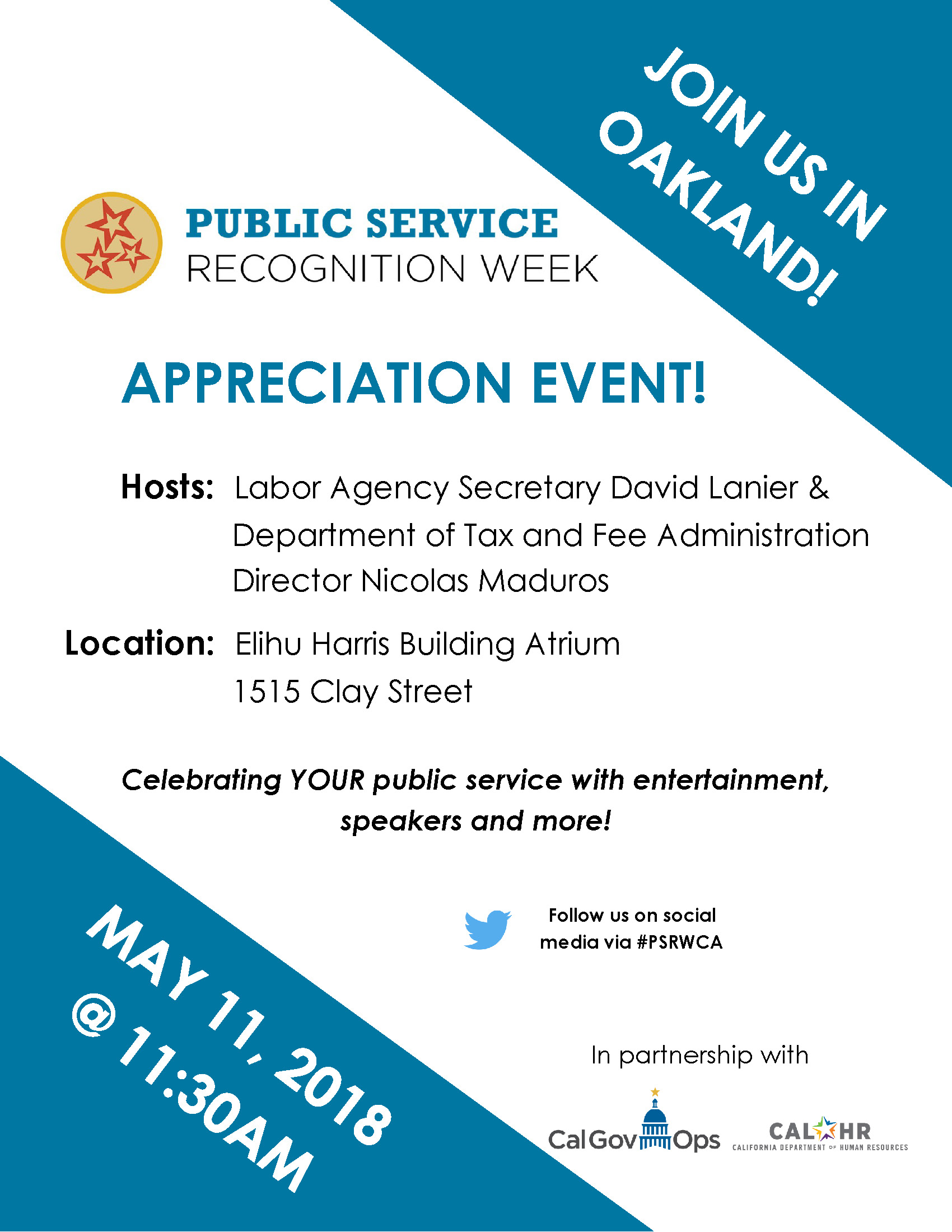 Public Service Recognition Week 2018 Oakland Flyer