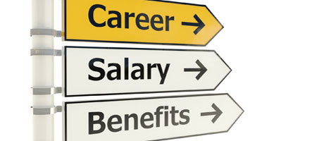Signs pointing in the direction of career, salary, and benefits.