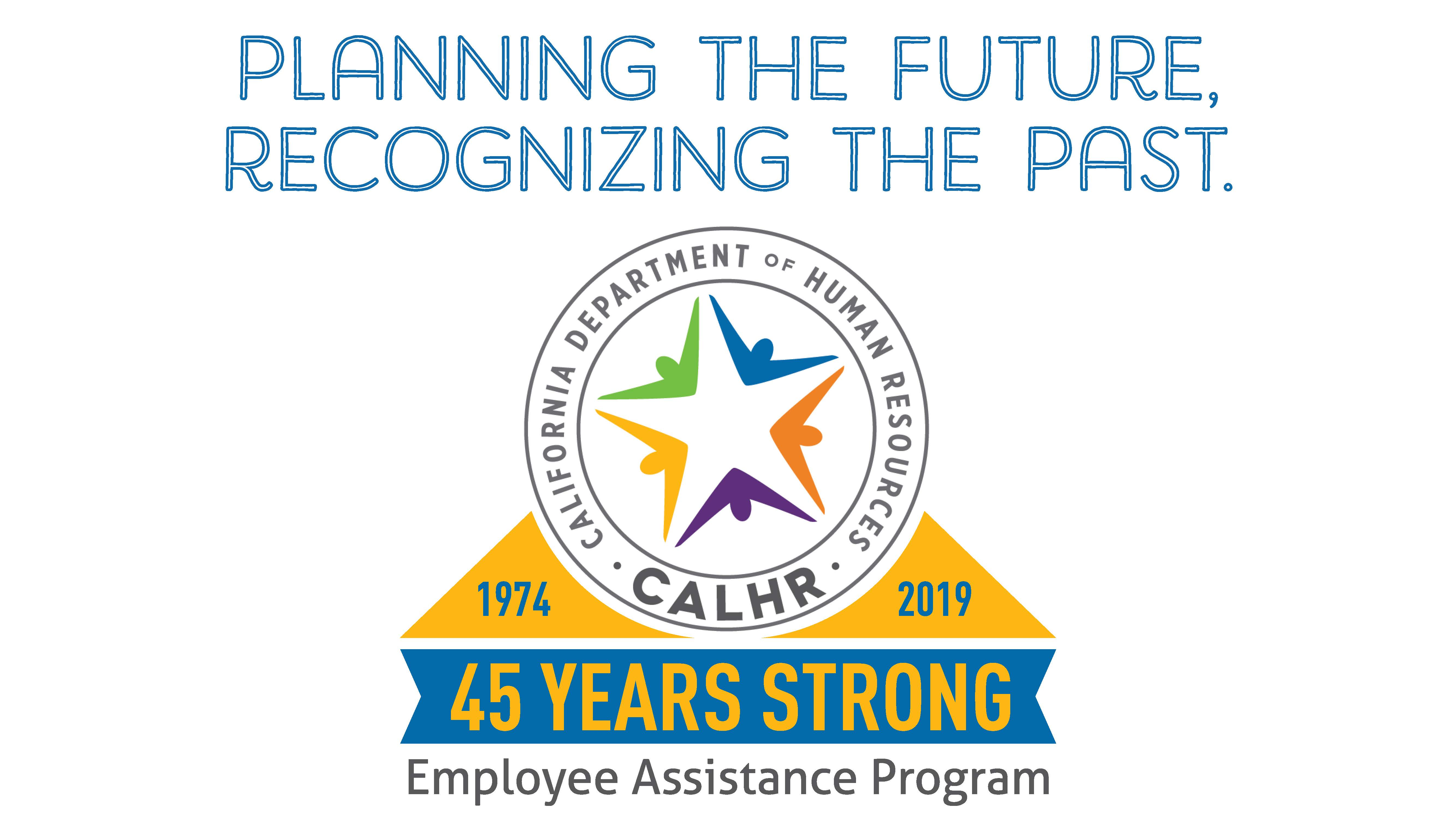 EAP 45 years strong logo. Planning the future, recognizing the past.