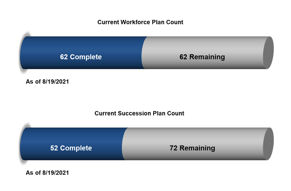Current workforce plan count and current succession plan count.